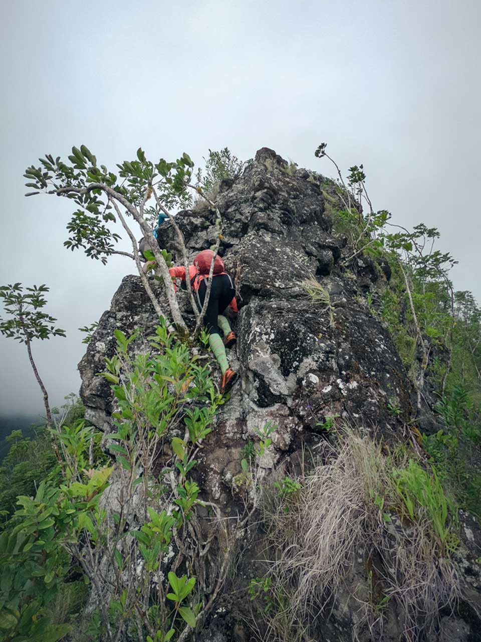 hikers climbing rockface