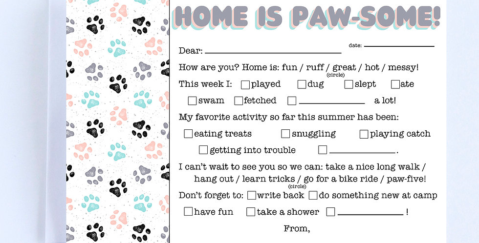 Home is Paw-some Fill In - Boxed Set of 10