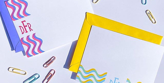 squiggle border monogram notecard