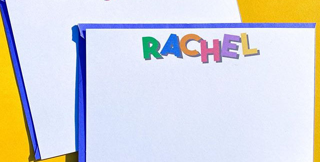 rainbow block letters notecard