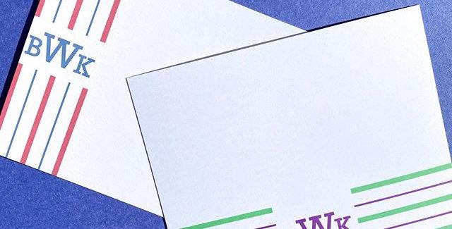 monogram striped notecards