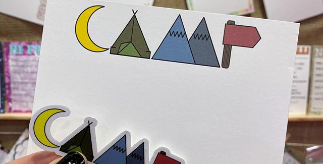CAMP lettering stationery