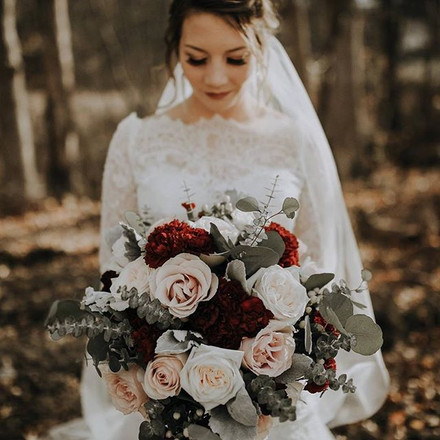 Wild Rose Burgundy Blush Eucalyptus White Bouquet