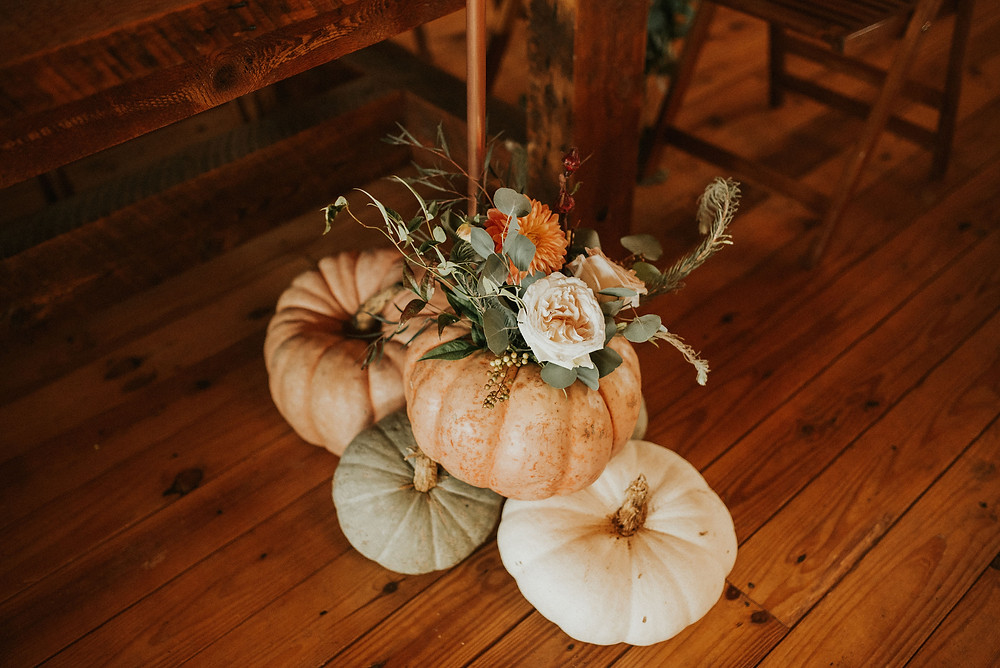 Heirloom pumpkin arrangment