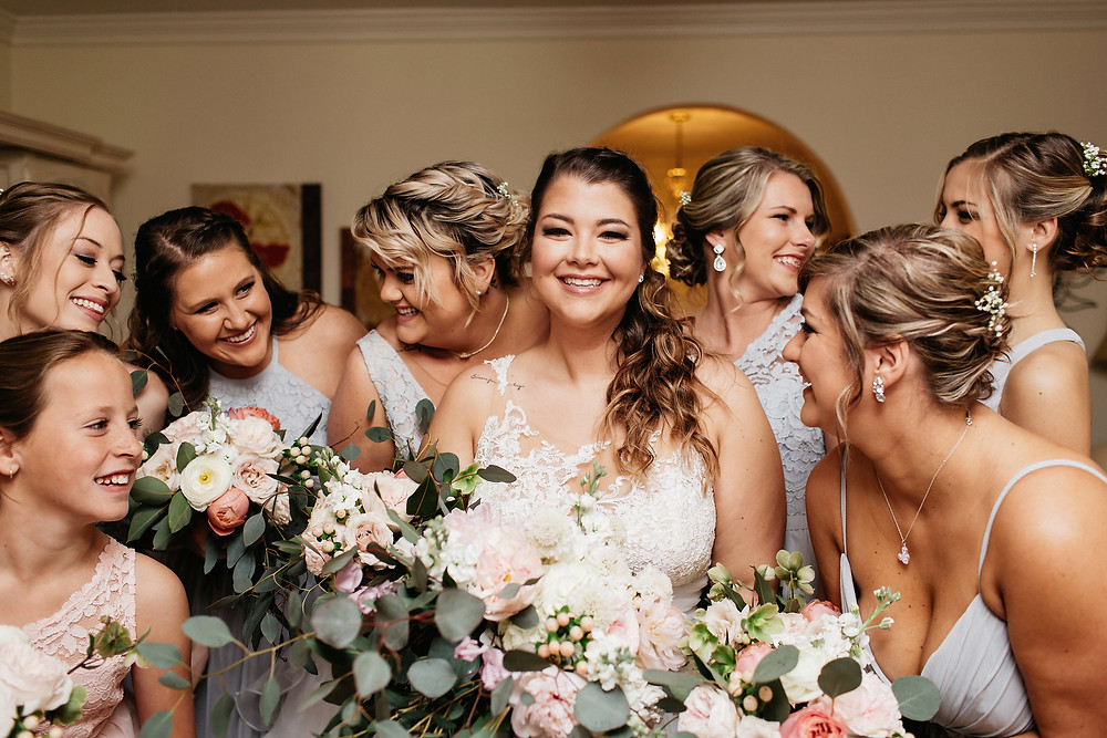 Our gorgeous bride Kellie and her dusty blue bridesmaids