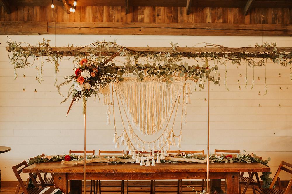 Bohemian wedding arbor, macramé arbor