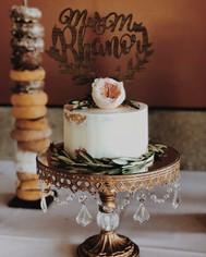 Bohemian Olive Branch David Austin Juliet Garden Rose Wild Wedding Cake with Donut Bar Wedding Cake Topper.
