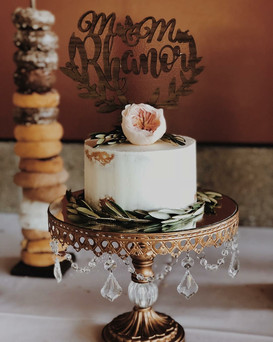 Bohemian Olive Branch David Austin Juliet Garden Rose Wild Wedding Cake with Donut Bar Wedding Cake Topper.