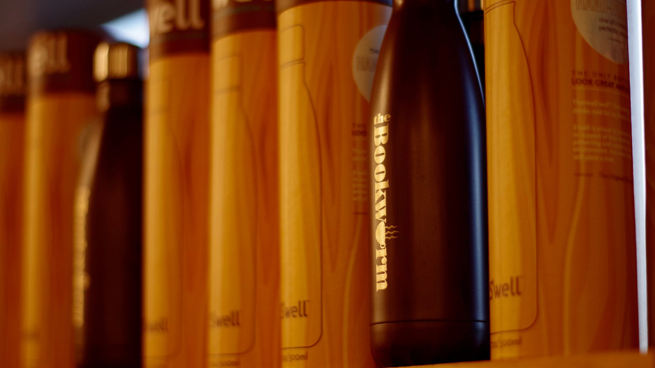 Bookworm bottles on shelf
