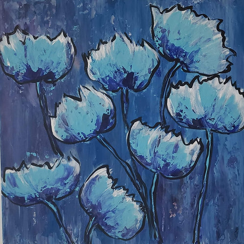 """Grouping of Blue Flowers"" (by Edythe Abell)"