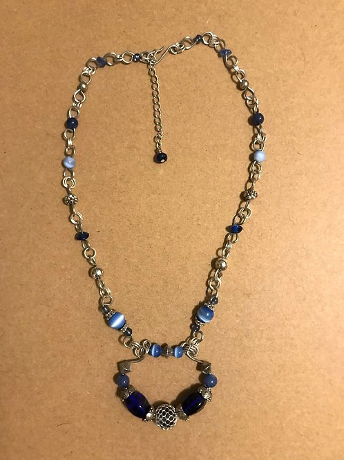 """""""Hues of Blue Handmade Necklace"""" (by Kim Collins)"""