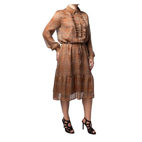 Midi tartan dress with ruffle front