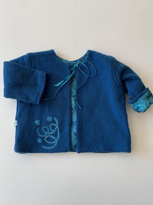 Mixed Wool Embellished Jacket- Blue