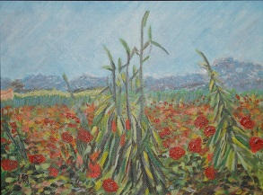 """""""Field with Poppies"""" – Vincent Van Gogh, ~1888"""