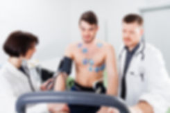 Athlete does a cardiac stress test in a