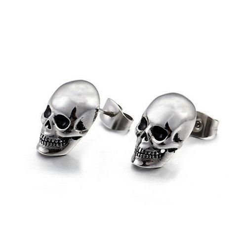 Unisex Silver Stainless Steel Skull Stud Earrings