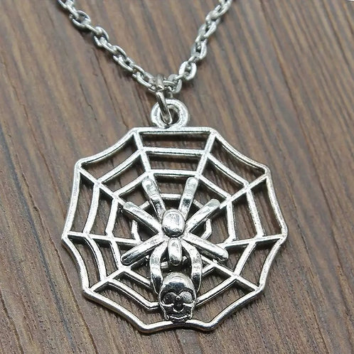 'The Trap' Skull Spider Web Pendant Necklace