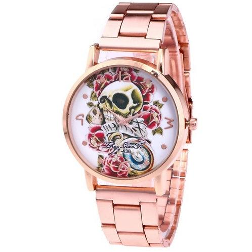 Women's Fashion Art Skull Stainless Steel Quartz Wrist Watch