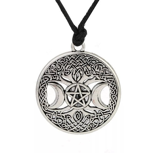 'The Artemis' Triple Moon Tree of Life Pentacle Necklace