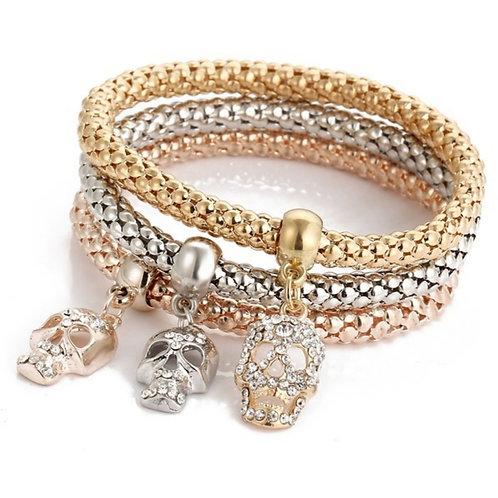 Women's 3 piece Elasticated Skull Pendant Bracelet with Rhinestones