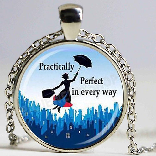 Mary Poppins Glass Pendant Necklace Blue