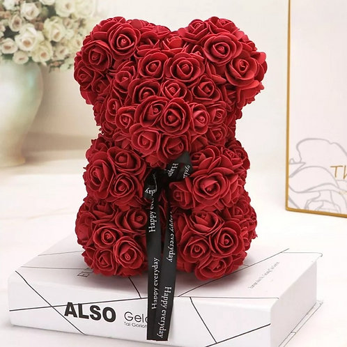 Valentines Day or Christmas Gift 25cm Red Wine Rose Teddy Bear