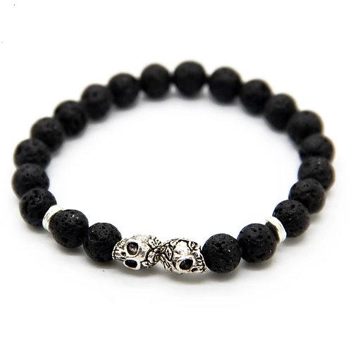 8mm Lava Stone Beads Black & Silver Skull Bracelet