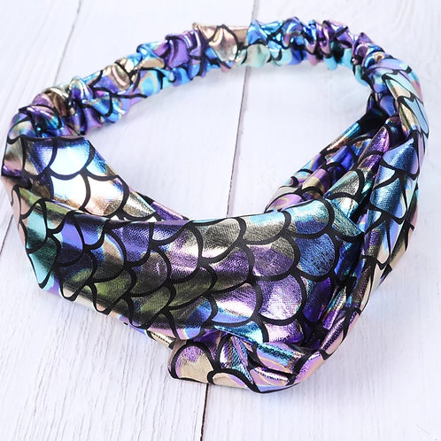 Mermaid Fishscale Cross Cotton Headband