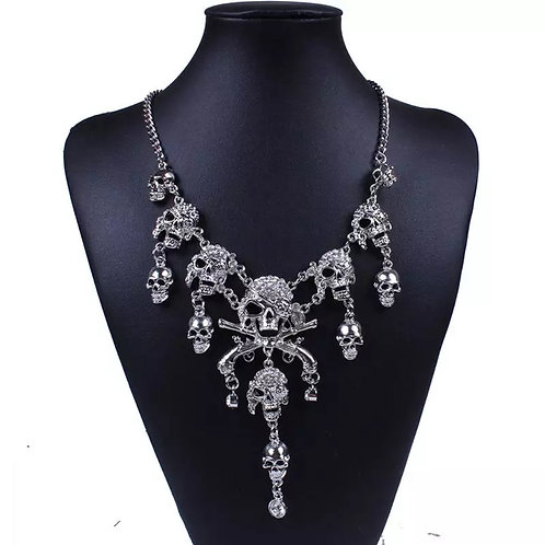 Women's Silver Pirate Skull Choker Style Necklace with Rhinestones