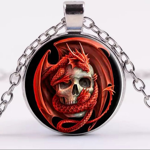 Tibet Silver Red Dragon and Skull Cabochon Glass Pendant Chain Necklace