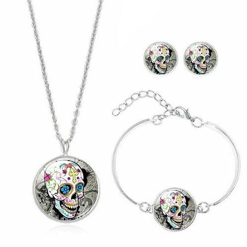 Anti-allergenic Silver Sugar Skull Earrings, Necklace & Bracelet Jewellery Set