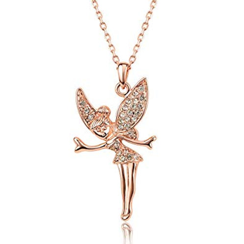 Tinkerbell Fairy Crystal Pendant Necklace Rose Gold
