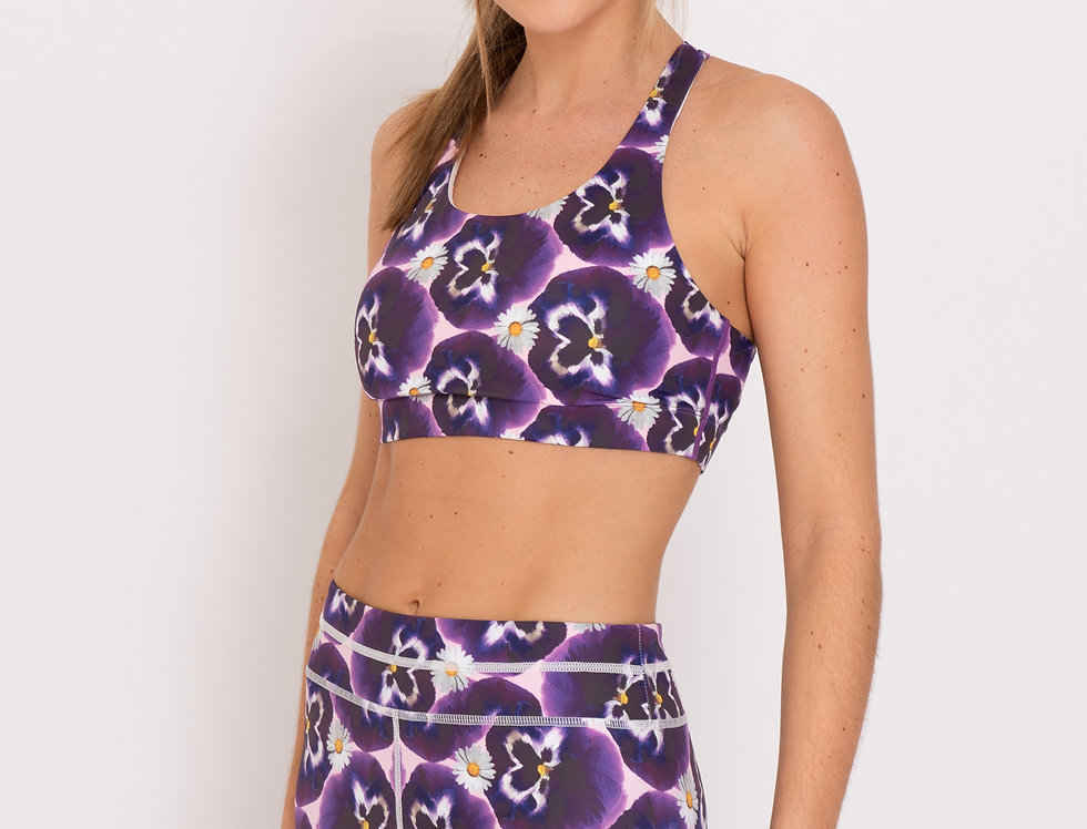 Pansy Print Strappy Sports Bra