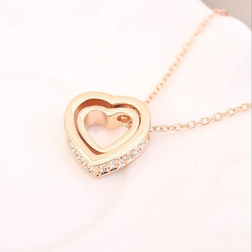 Double Layer Crystal Pendant Gold Sterling 925 Necklace