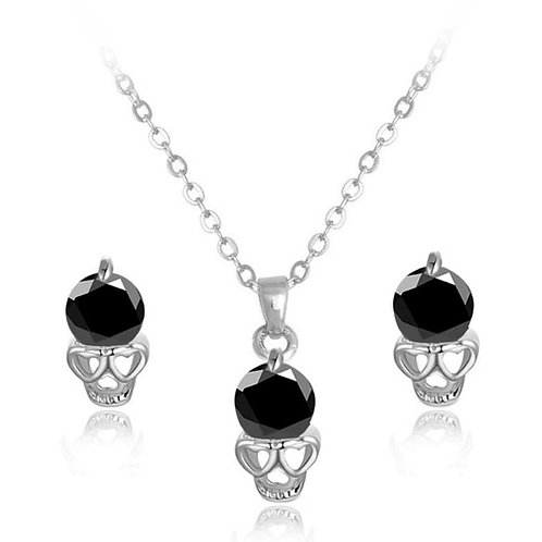 18k White Gold Filled and Cubic Zirconia Skull Necklace and Earring Set