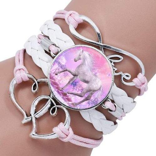 Unicorn Woven Bracelet Pink and White