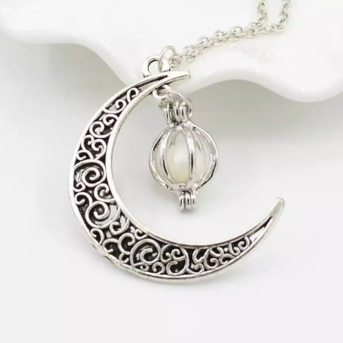 Crescent Moon Pentacle Pentagram Pendant Wicca Style Silver Fashion Necklace