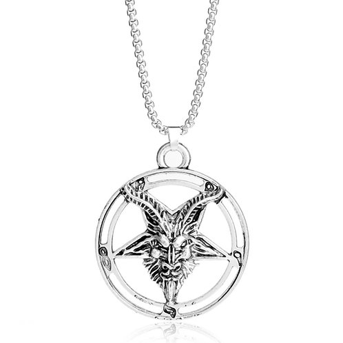 Baphomet Inverted Pentagram Goat Head Pendant Necklace