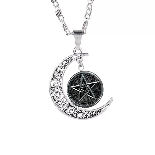 Crescent Moon Pentagram Pendant Wicca Style Silver Fashion Necklace