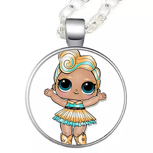LOL Cowgirl Cartoon Character Cabochon Necklace