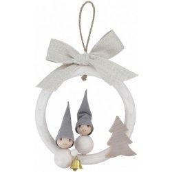 Tonttu Christmas Elf Ornament - Boy & Girl in Wreath