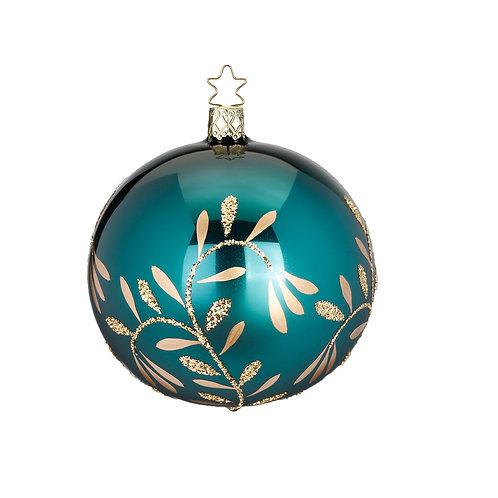 Vintage Lightness Blue Green Shiny 8cm Bauble - Handcrafted Inge Manufaktur
