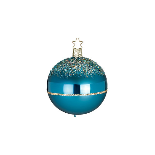 Glitter Top, Dark Cyan Matt 6cm Bauble - Handcrafted Inge Manufaktur