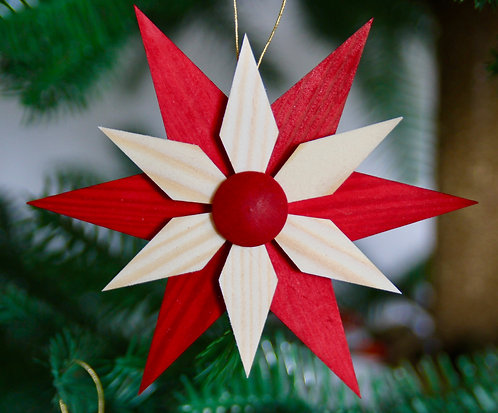 Natural & Red Star Set of 5