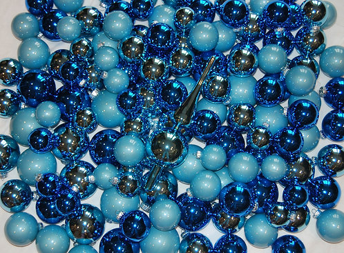 Glass Baubles 217 pce Whole Tree Set - Blue