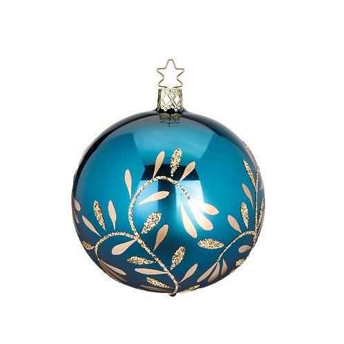 Vintage Lightness Turquoise Blue Shiny 8cm Bauble - Handcrafted Inge Manufaktur