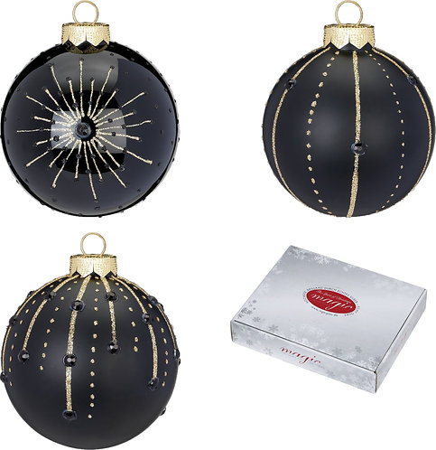 Assorted Black Glass Baubles - 6cm