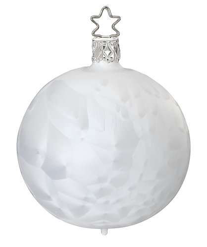 Ice Crystal, White Ice Lacquer8cm Bauble - Handcrafted Inge Manufaktur
