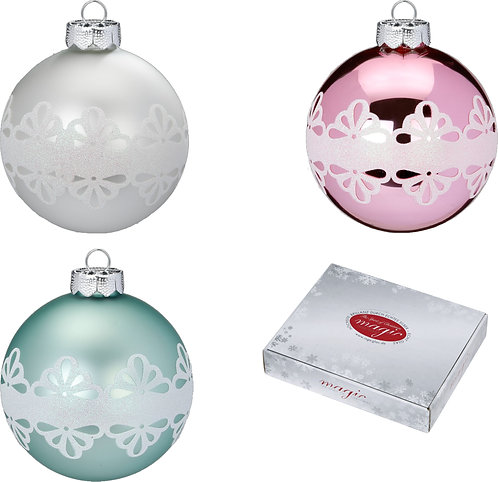 Berry Kiss Assorted 6cm Glass Baubles