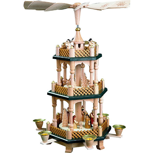Richard Glässer Candle Pyramid - 3 Tier Nativity in Green